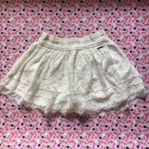 Off white Abercrombie & Fitch lace skirt.